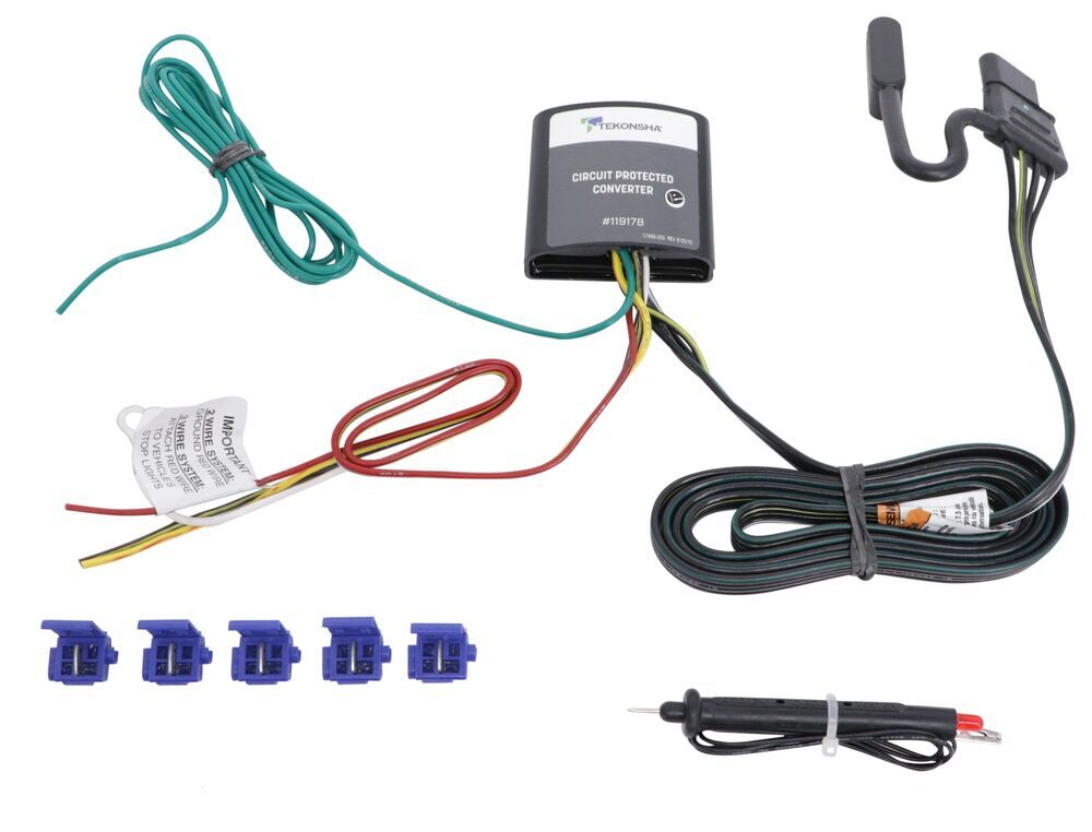 Upgraded Circuit Protected Tail Light Converter Hardwire Kit w/ 4-Pole Connector and Circuit Tester 0 - 5 Feet Long 119178KIT