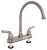RV Kitchen Faucet - Dual Teacup Handle - Satin Nickel Dual Handles 277-000014