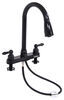 Ultra Faucets RV Kitchen Faucet w/ Pull Down Spout - Dual Teacup Handle - Black Pull-Down Sprayer 277-000068