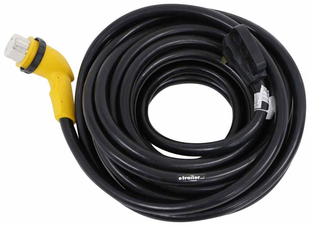 Epicord 12 90-Degree Dogbone RV Adapter 15-Amp Male and 50-Amp Female with Twist Lock and LED Power Indicator