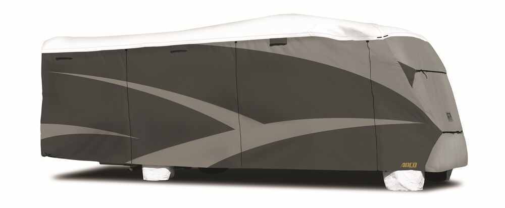 Adco Tyvek All-Climate + Wind RV Cover for Class C Motorhome - Up to 23' Long - Gray Gray and White 290-34812