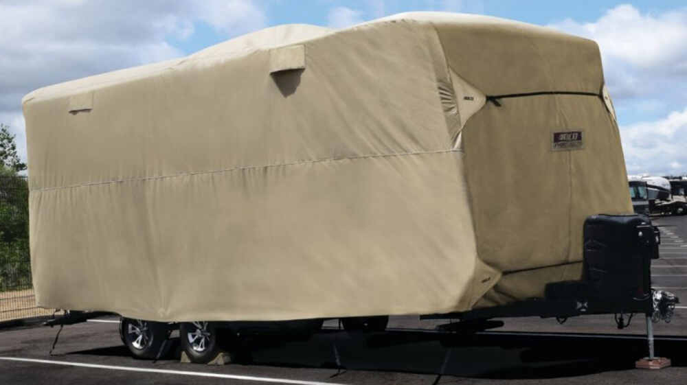 Adco Polypropylene Storage Lot RV Cover for Travel Trailer - Up To 15' Long - Tan Long-Term Storage 290-74838