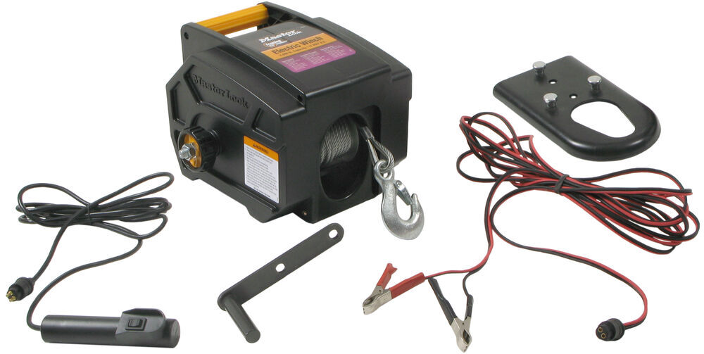 Master Lock Electric Trailer Winch - 2,000 lbs. Freespooling Clutch 2953AT