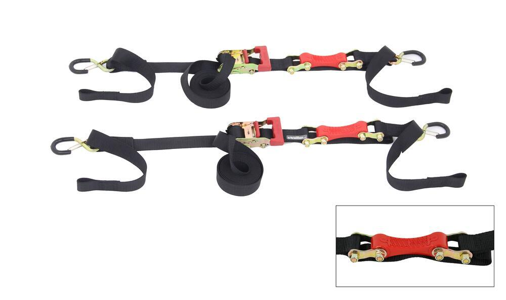 "ShockStrap Ratchet Tie-Down Straps w Shock Absorbers - 1-1/2"" x 7' - 1,000 lbs - Qty 2 1-1/8 - 2 Inch Wide 297-7RSDB"
