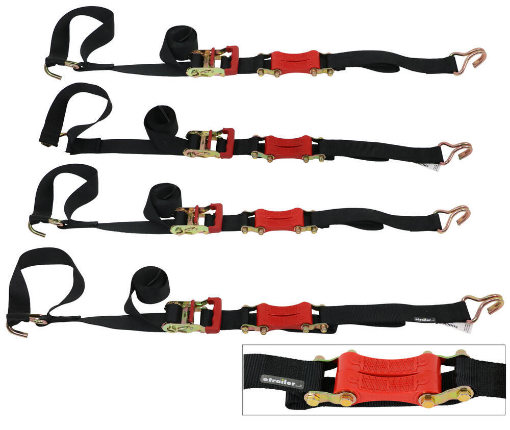 "ShockStrap Ratchet Motorcycle Tie-Downs w Shock Absorbers - 2"" x 9' - 2,000 lbs - Qty 4 6 - 10 Feet Long 297-9RSBB-M"