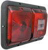 Bargman Double Tail Light - 5 Function - Incandescent - Rectangle - Black Base - Red/Clear Lens 10L x 7W Inch 30-84-008