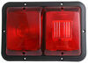 Bargman Trailer Double Tail Light - 4 Function - Incandescent - Rectangle - Black Base - Red Lens Recessed Mount 30-84-529