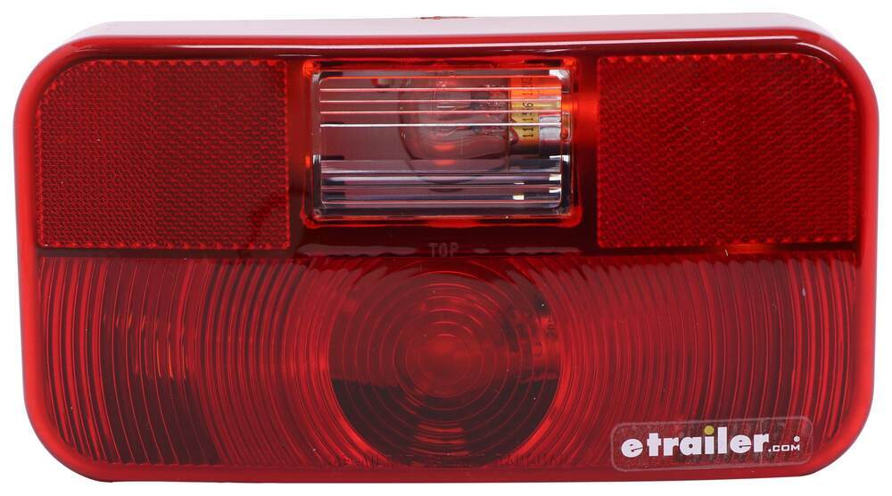 Bargman Trailer Tail Light - 5 Function - Incandescent - Rectangle - Black Base - Red/Clear Lens 8-1/2L x 4-1/2W Inch 30-92-107