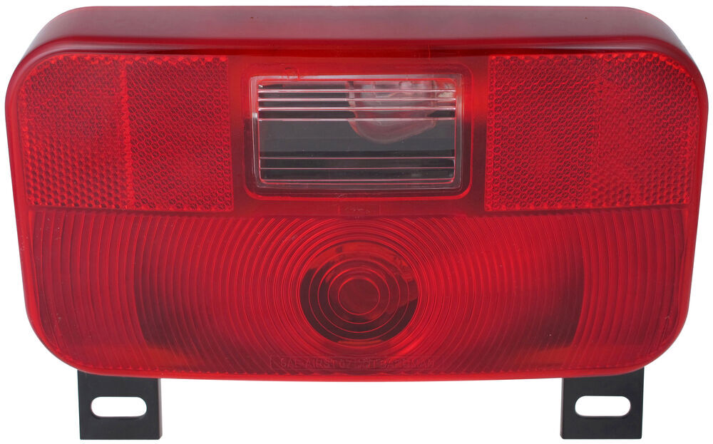 Bargman Tail Light w/ License Bracket - 6 Function - Incandescent - Black Base - Red/Clear Lens Non-Submersible Lights 30-92-109