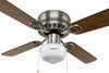 "120V RV Ceiling Fan and Light - 3 Speed - 42"" Diameter - Brushed Nickel - Black/Oak No Wall Switch 324-000033"