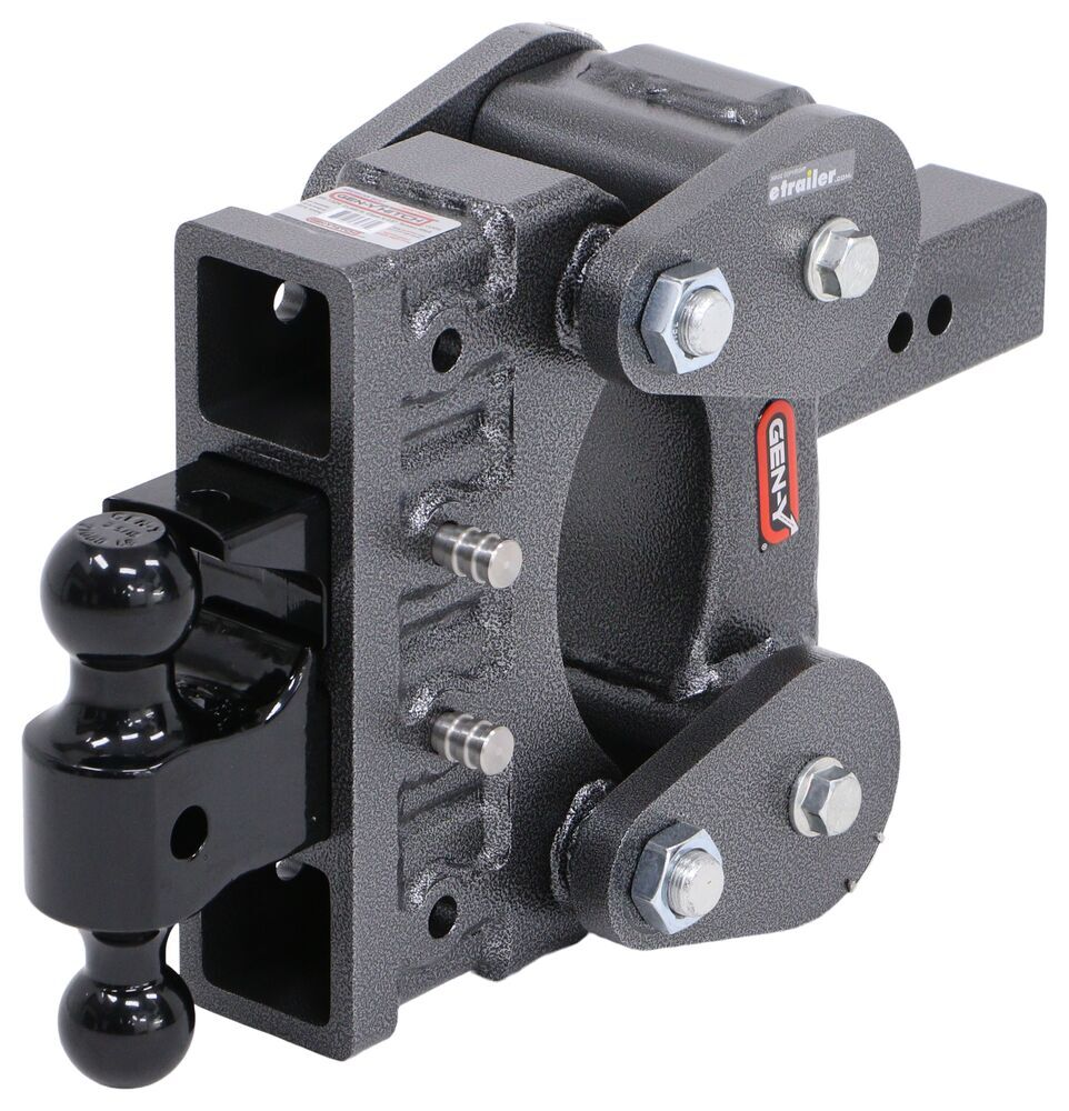 Trailer Hitch Ball Mount 325-GH-1324 - Stacked Receivers,Shock Absorbing,Built-In Pintle Hook - Gen-Y Hitch
