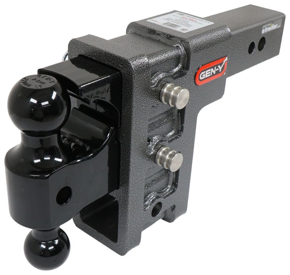 325-GH-1623 - Stacked Receivers,Built-In Pintle Hook Gen-Y Hitch Adjustable Ball Mount