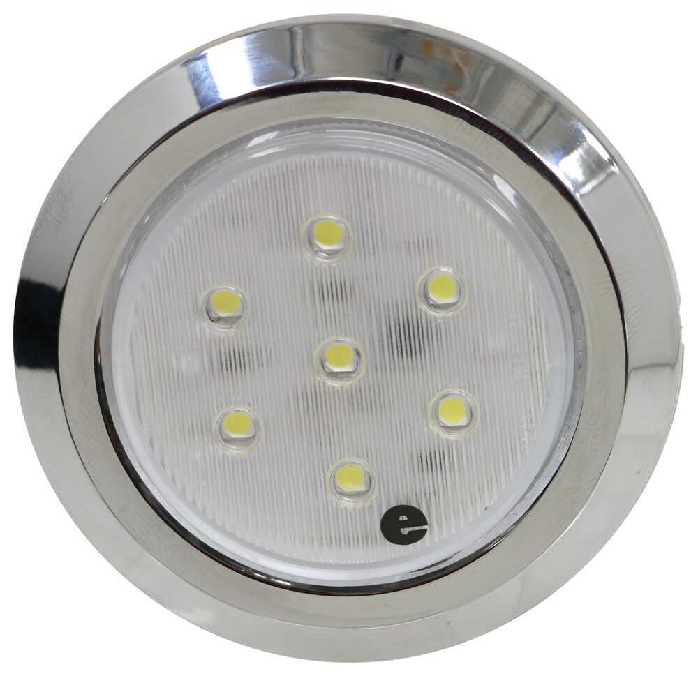 LED RV Dome Light with Chrome Bezel - Surface Mount - 7 Diodes - Clear Lens LED Light 328-003-1400W