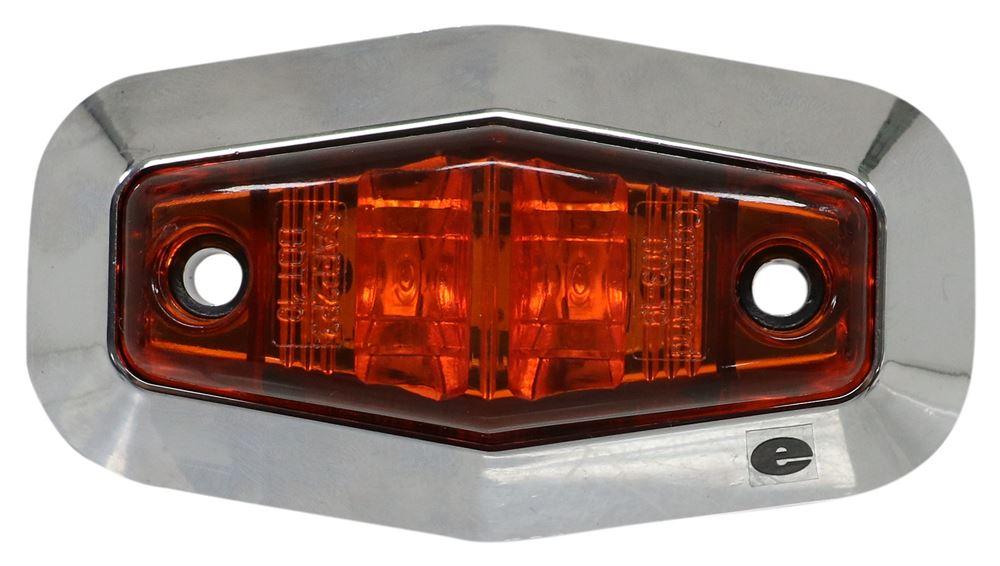 LED Trailer Clearance or Side Marker Light with Chrome Bezel - 2 Diodes - Amber Lens LED Light 328-003-19A