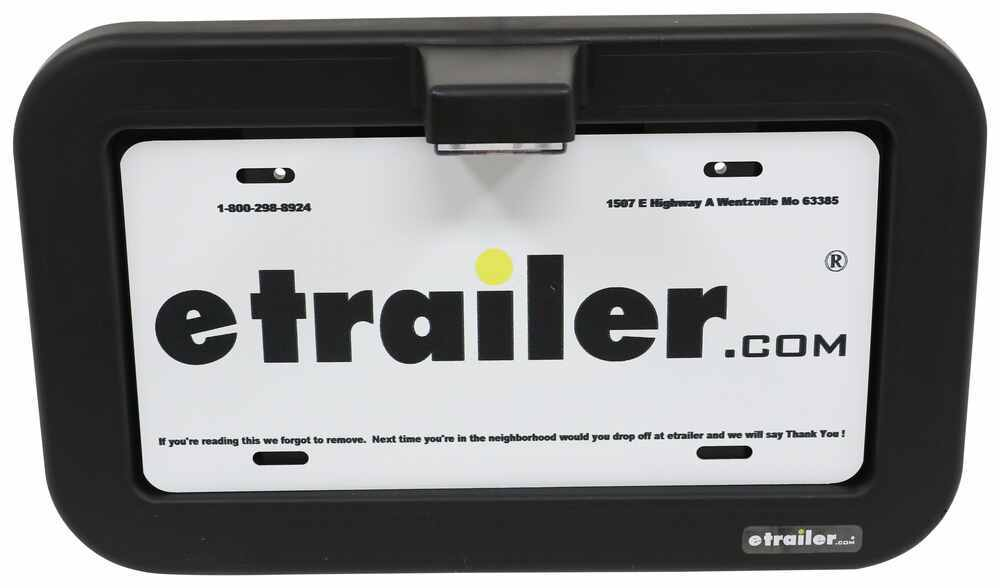 Trailer License Plate Holder with LED Light - 3 Diodes - Clear Lens - Black Frame Surface Mount 328-003-71BE