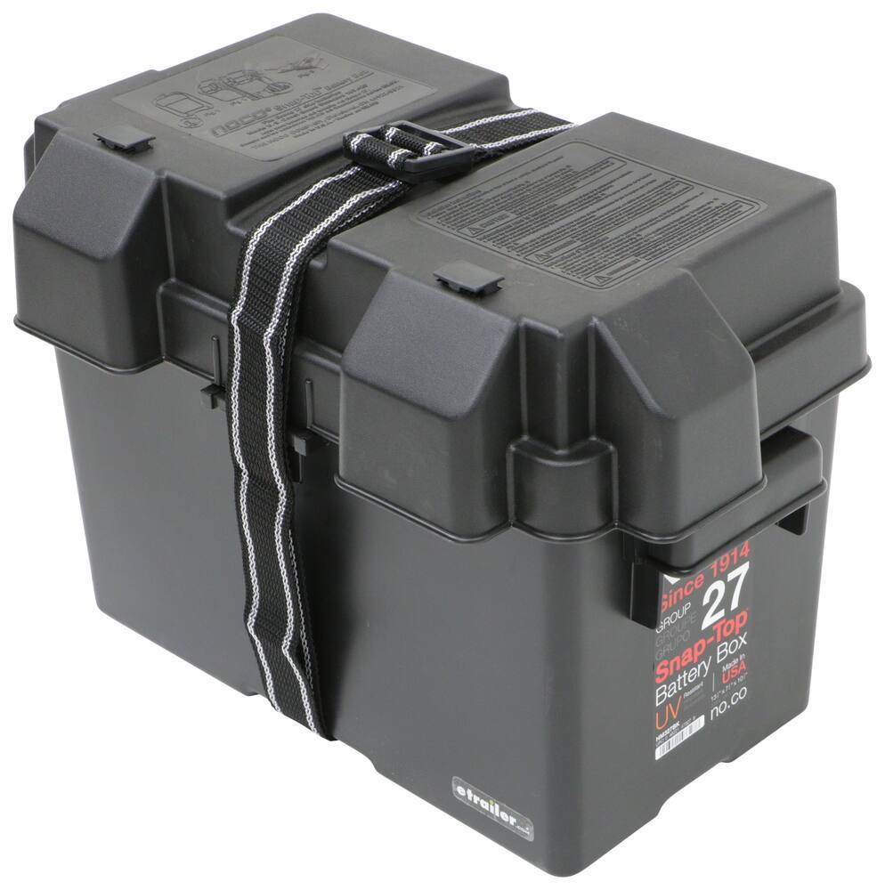 Snap-Top Battery Box with Strap for Group 27 Batteries - Vented 16-15/16L x 9-13/16W x 11-1/2D Inch 329-HM327BKS