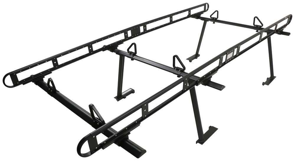 Buyers Products Over-The-Cab Truck Bed Ladder Rack - Black Powder Coated Aluminum - 800 lbs Fixed Rack 3371501410