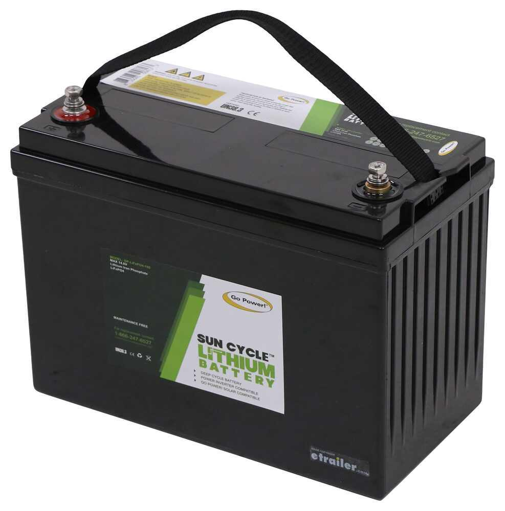 Go Power Lithium RV Battery - Deep Cycle - LiFePO4 - Group 31 - 12V - 100 Amp Hour 12-15/16L x 7W x 9-1/4T Inch 34282738