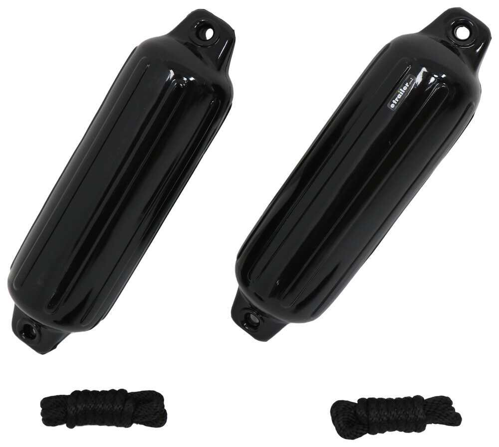 Taylor Made Double-Eye Boat Fenders w/ Ropes for 20' to 25' Long Boats - Black Vinyl - Qty 2 6 - 10 Inch Wide 36931016B2P