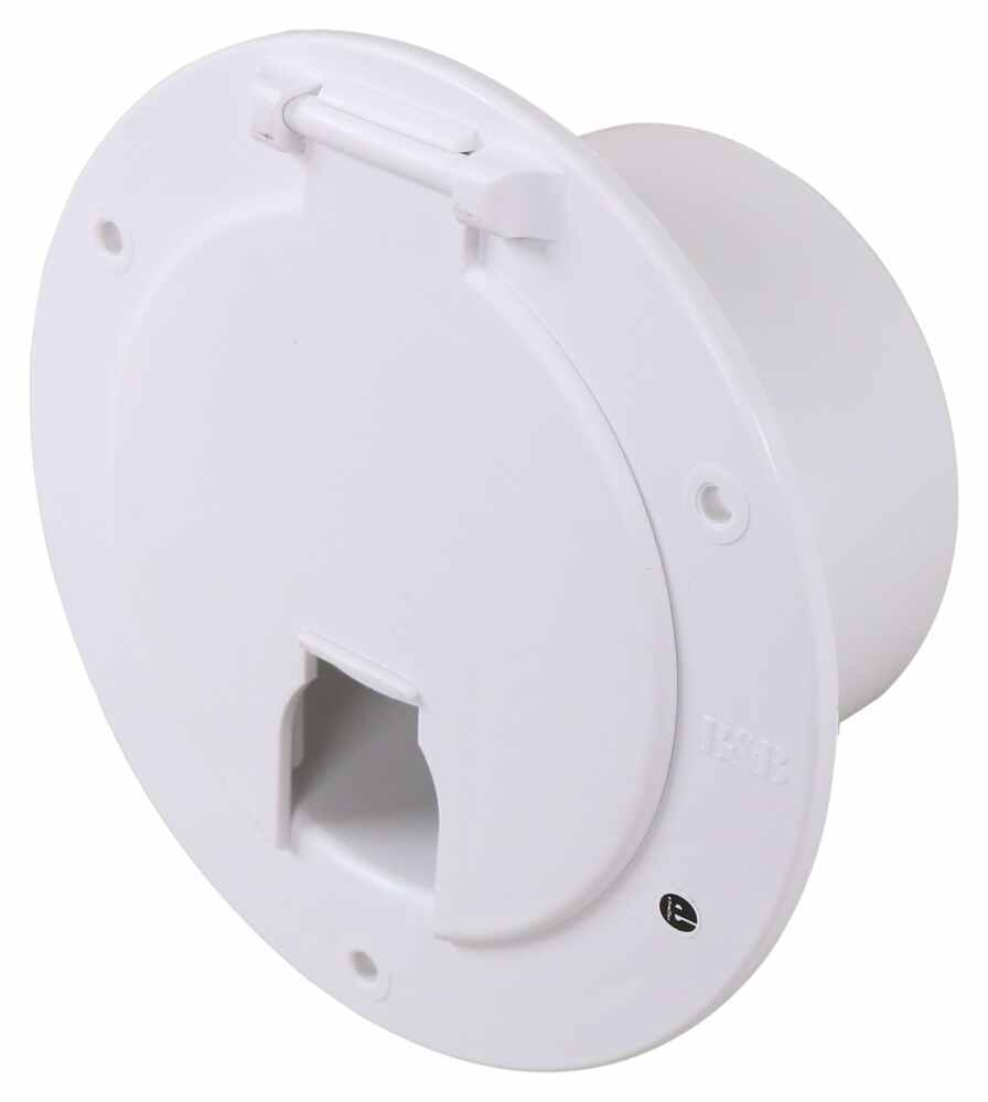"""Electrical Cable Hatch for RVs - 5-1/8"""" Diameter - Polar White White 372541-2-A"""