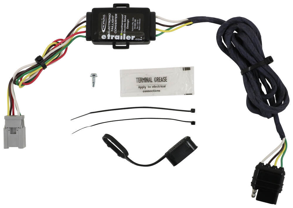 Hopkins Plug-In Simple Vehicle Wiring Harness with 4-Pole Flat Trailer Connector Converter 43105