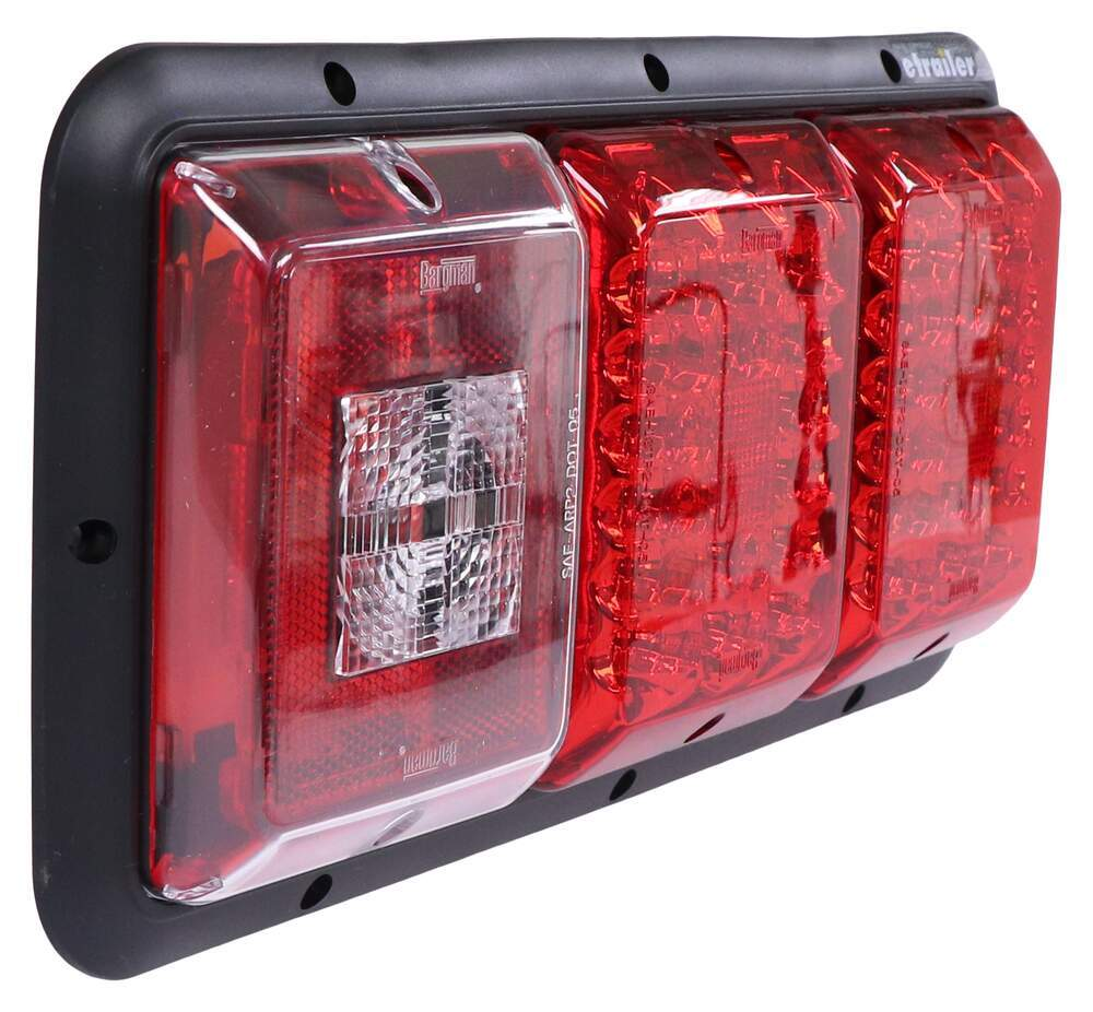 Red Bargman 47-06-034 Waterproof 6 Oval LED Taillight with Grommet and 90 Degree Pigtail