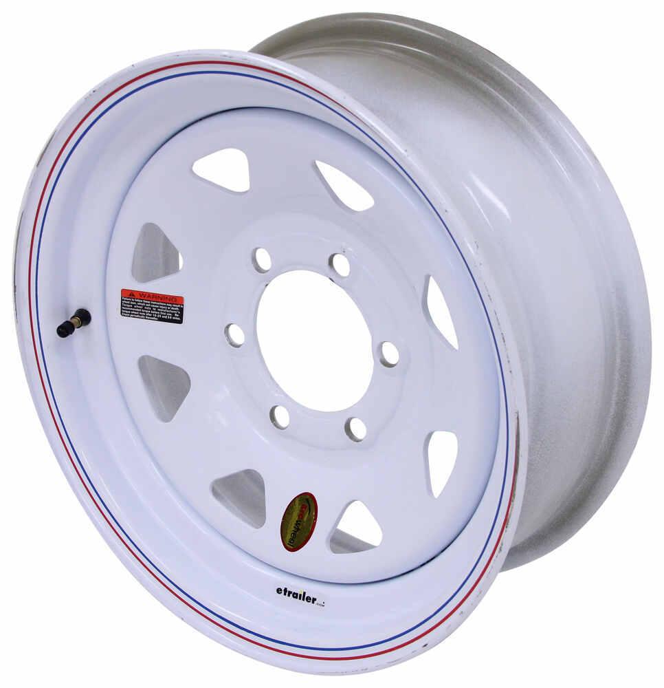 "Taskmaster Steel 8-Spoke Trailer Wheel - 16"" x 6"" Rim - 6 on 5-1/2 - White Steel Wheels - Powder Coat 660655WS1"