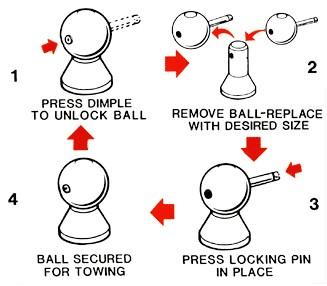 """Convert-A-Ball 1/"""" Super-Long Shank /& 3 Trailer Hitch Balls Set 1-7//8 2 2-5-16"""