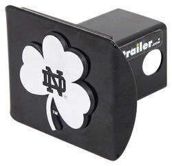on Black Metal Hitch Cover Notre Dame Metal ND Emblem Chrome with Green Trim