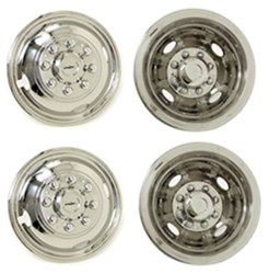 2x Moon Caps 16 Inch Polished Stainless Steel Wheel Trims Hub Caps