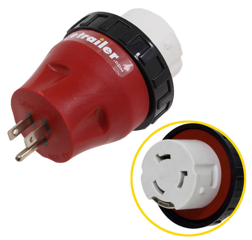 Mighty Cord RV Power Cord Adapter Plug - 15 Amp Male to 50 Amp Female - Detachable RV Receptacle to Power Hookup A10-1550DAVP