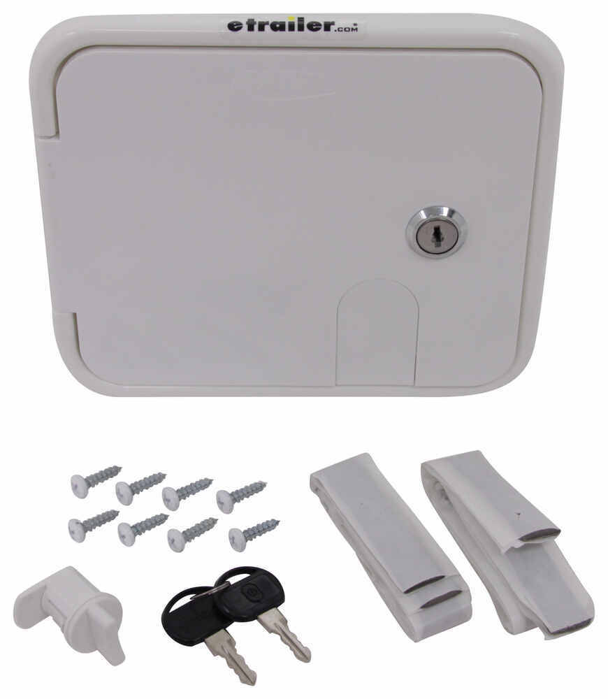 """Valterra Locking Electrical Cable Hatch for RVs - 7-5/8"""" Long x 6-1/2"""" Tall - White White A10-2150VP"""