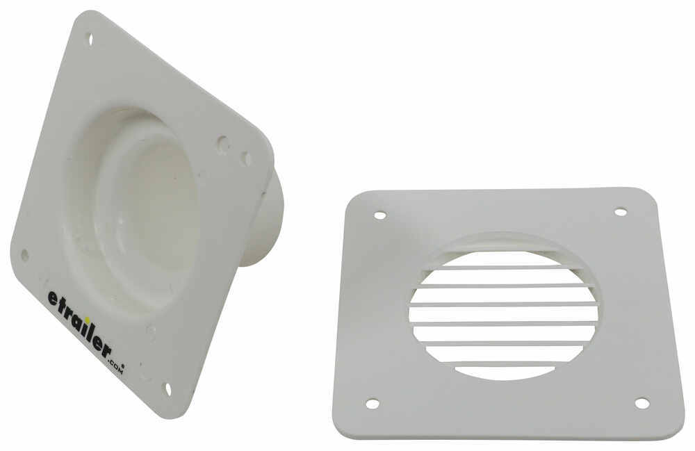 """Valterra RV Battery Box Vent with Cover - 1-3/4"""" Hose Opening - White Cover 4-1/4W x 4-1/4L Inch A10-3300-05"""
