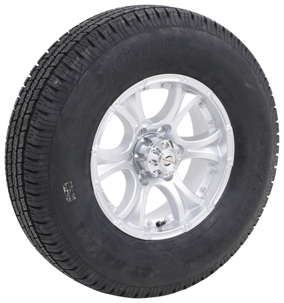 "Provider ST235/80R16 Radial Tire w 16"" Viking Aluminum Wheel - 6 on 5-1/2 - LR E - Silver 6 on 5-1/2 Inch A16RTK6FPS"