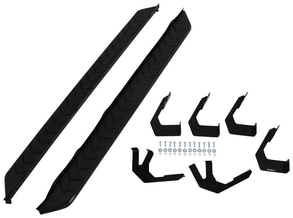 """AeroTread Running Boards w/ Custom Installation Kit - 5"""" Wide - Aluminum - Black Stainless Matte Finish AA2061025"""