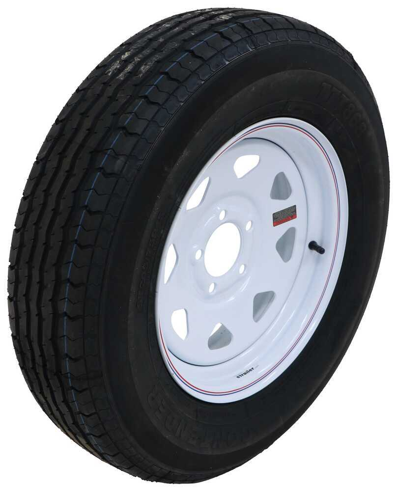 "Contender ST205/75R15 Radial Trailer Tire w/ 15"" White Spoke Wheel - 5 on 4-1/2 - Load Range C Load Range C AC15R45WSQ"