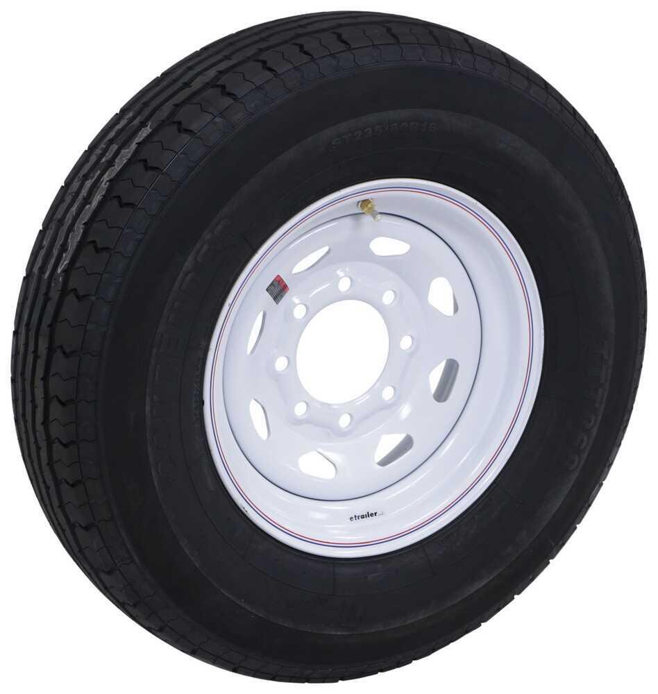 """Contender ST235/80R16 Radial Trailer Tire w/ 16"""" White Spoke Wheel - 8 on 6-1/2 - Load Range E Radial Tire AC16R8WSQ"""