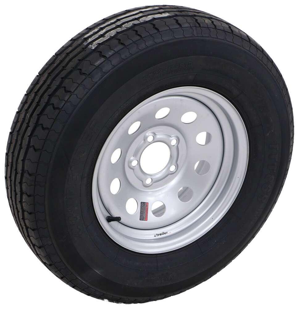 """Contender ST225/75R15 Radial Trailer Tire w/ 15"""" Silver Mod Wheel - 5 on 4-1/2 - Load Range D Steel Wheels - Powder Coat AC225R645SMV"""