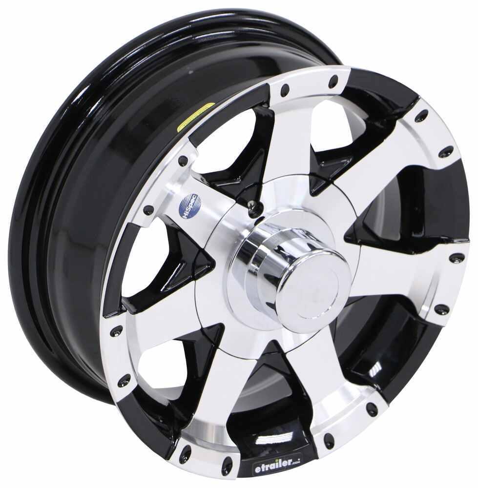 """Aluminum Hi-Spec Series 06 Trailer Wheel - 13"""" x 5"""" Rim - 5 on 4-1/2 - Black 13 Inch AM20281B"""