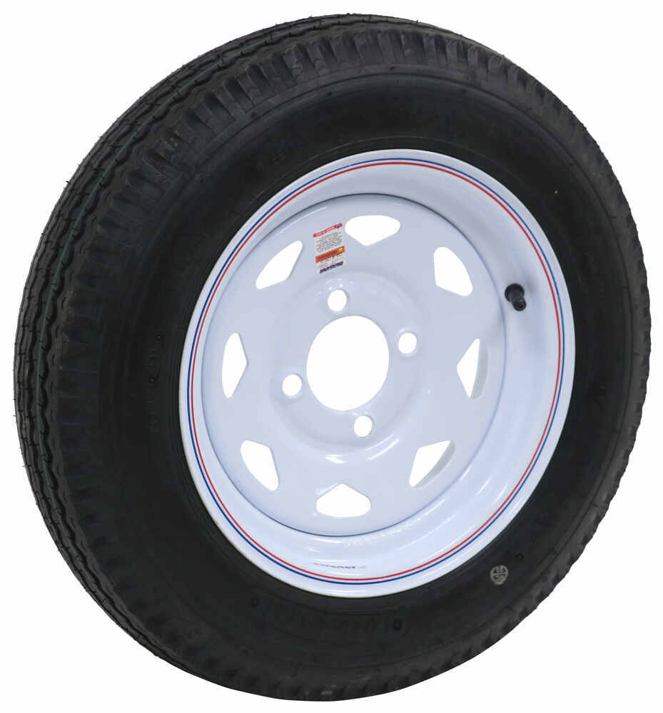 "Kenda 4.80-12 Bias Trailer Tire with 12"" White Wheel - 4 on 4 - Load Range B 4 on 4 Inch AM30540"