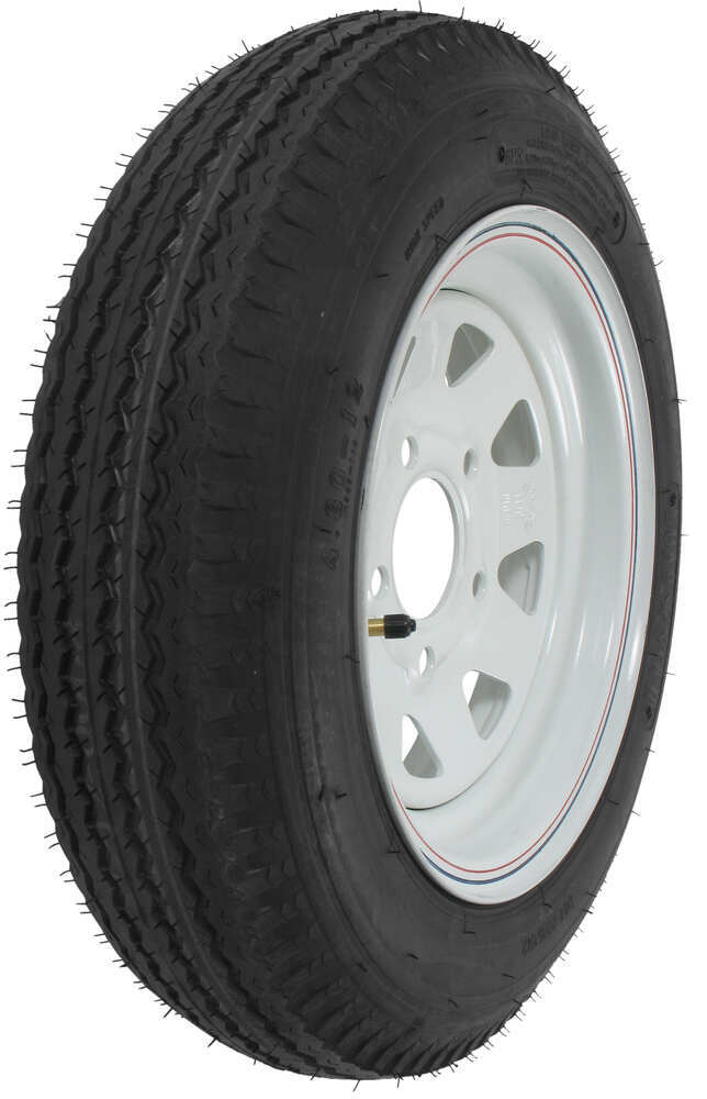 "Kenda 4.80-12 Bias Trailer Tire with 12"" White Wheel - 5 on 4-1/2 - Load Range C Steel Wheels - Powder Coat AM30660"