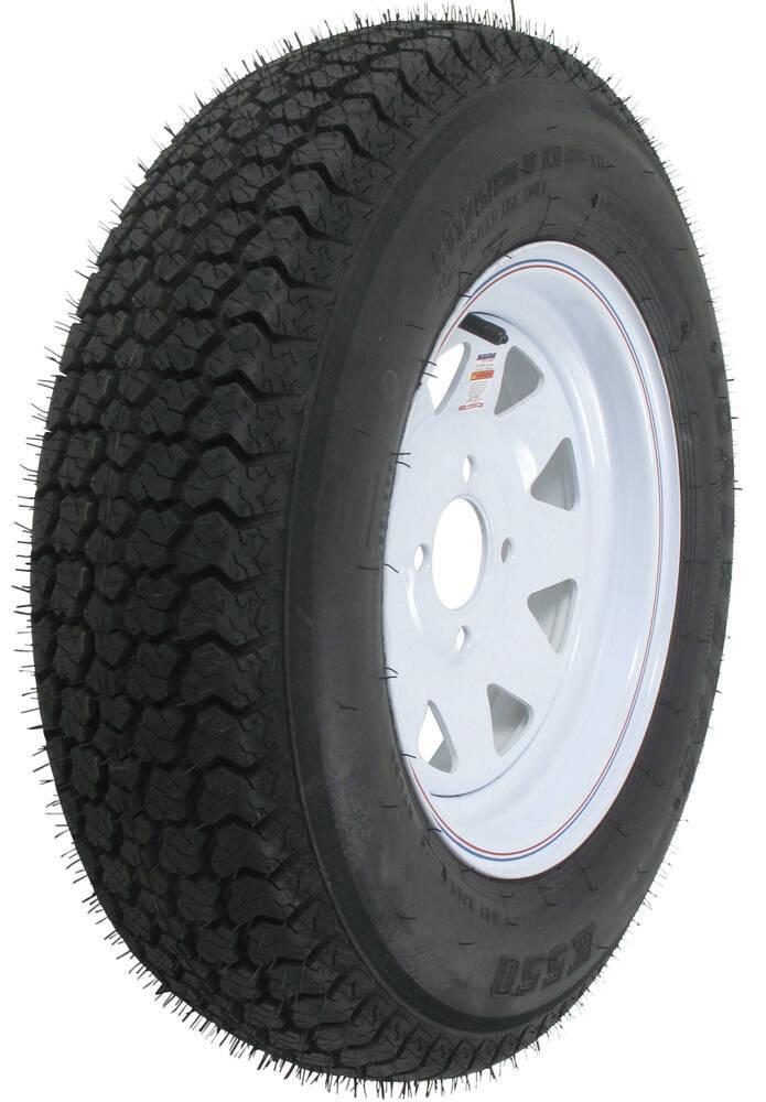 "Loadstar ST175/80D13 Bias Trailer Tire with 13"" White Wheel - 4 on 4 - Load Range B 175/80-13 AM3S030"