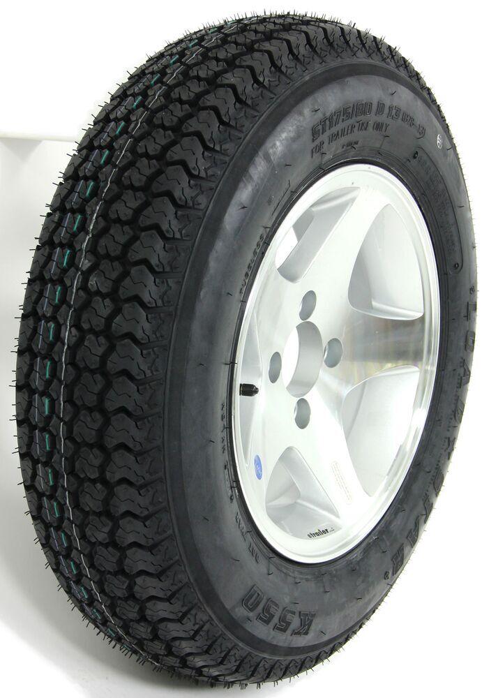 "Loadstar ST175/80D13 Bias Trailer Tire with 13"" Aluminum Wheel - 4 on 4 - Load Range B Bias Ply Tire AM3S101"