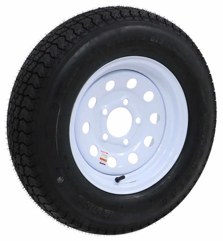 "Loadstar ST185/80D13 Bias Trailer Tire w/13"" White Modular Wheel - 5 on 4-1/2 - Load Range D M - 81 mph AM3S333"