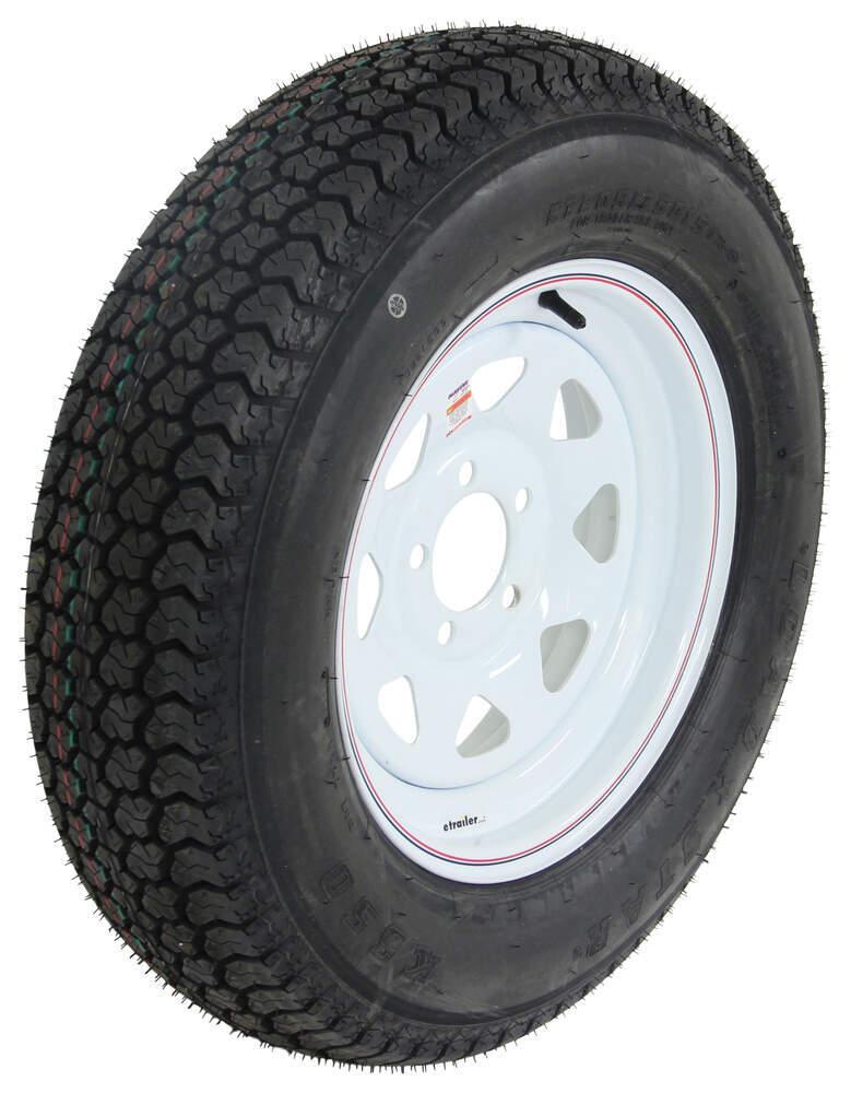 """Loadstar ST205/75D15 Bias Trailer Tire w/ 15"""" White Spoke Wheel - 5 on 4-1/2 - Load Range C M - 81 mph AM3S640DX"""