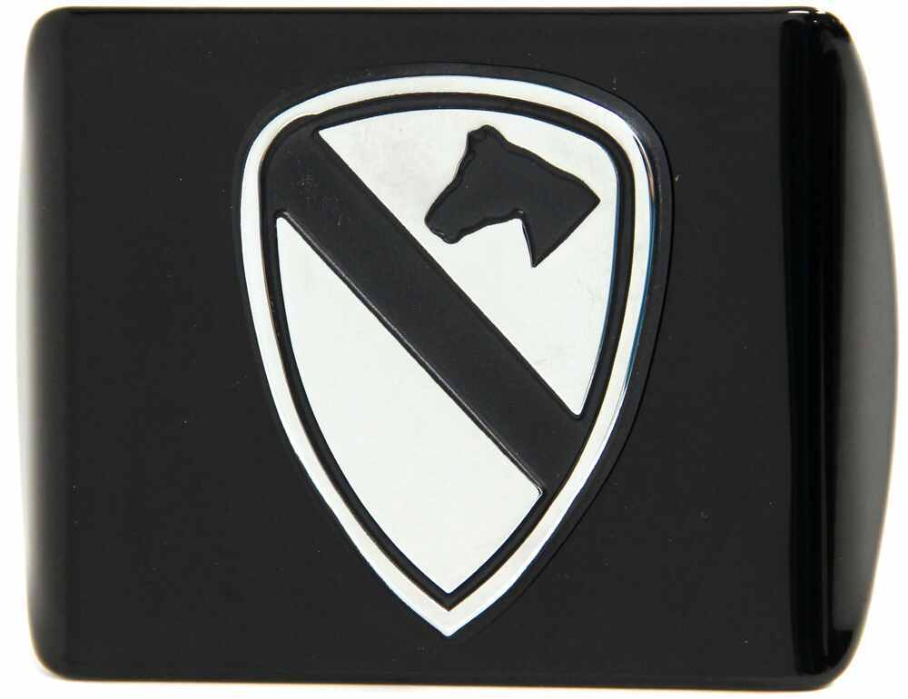 "US Army 1st Cavalry Shield Trailer Hitch Receiver Cover - 1-1/4"" Hitches - Chrome Emblem AMG102930"
