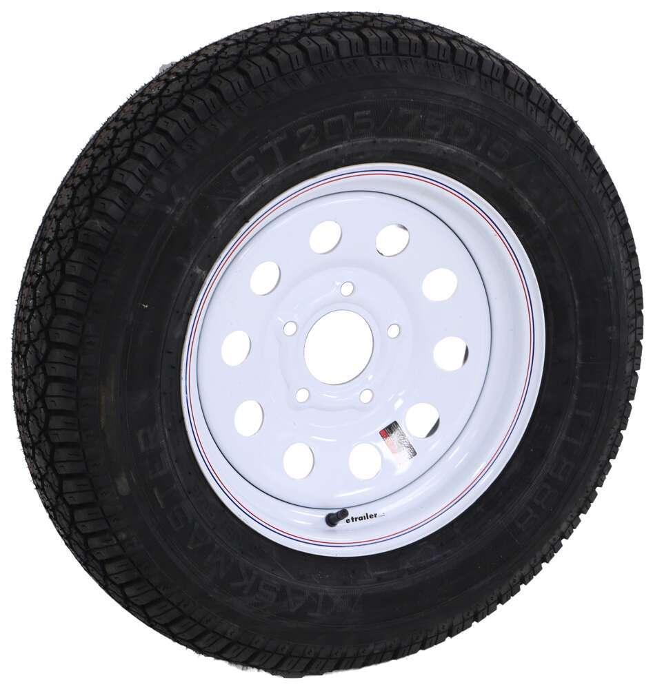"Taskmaster ST205/75D15 Bias Trailer Tire with 15"" White Mod Wheel - 5 on 5 - Load Range C Bias Ply Tire AS15B5WMQ"