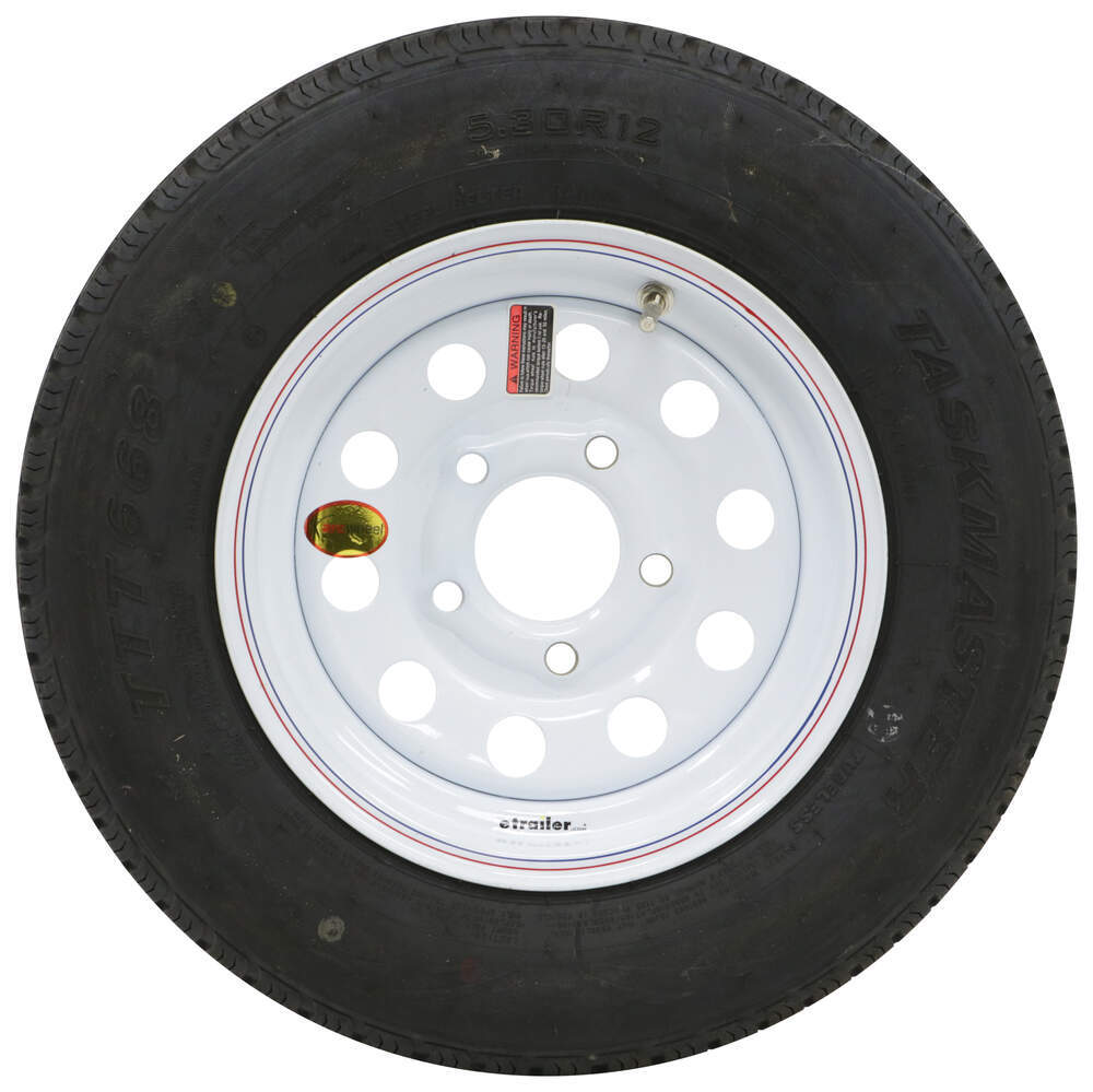 530-12 Load Range D Tire mounted on 5 bolt WHITE Powder Coated steel rim