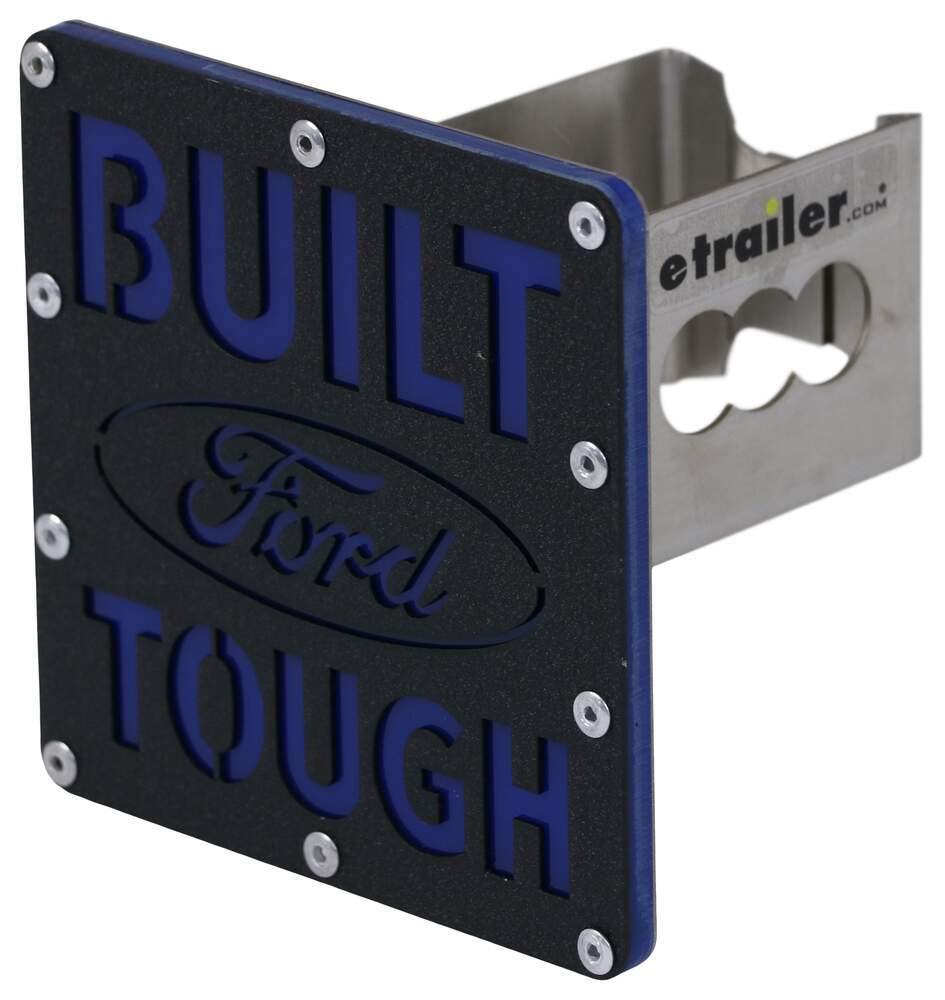 """Built Ford Tough Trailer Hitch Cover - 2"""" Hitches - Stainless Steel - Rugged Black Stainless Steel AUT-BFT-2-RB"""
