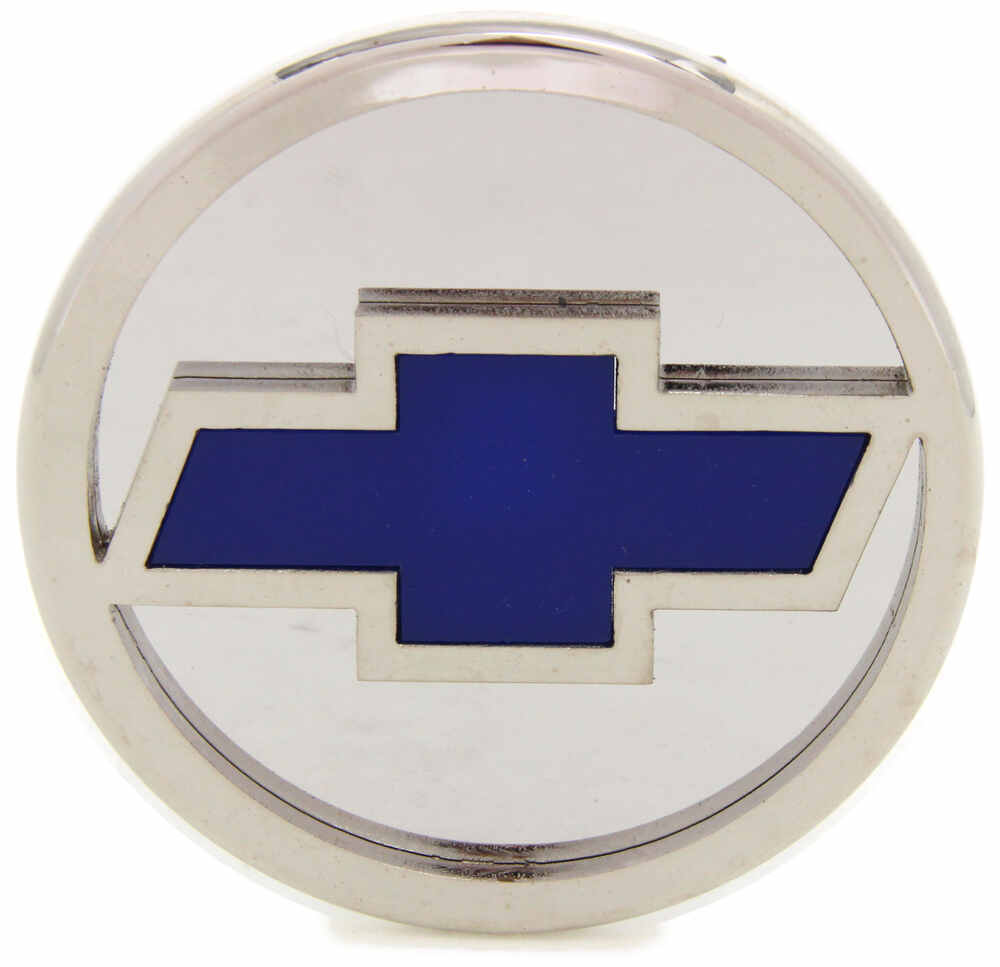 "Chevrolet Bowtie Hitch Cover - 2"" Hitches - Stainless Steel - Chrome and Blue Stainless Steel AUT-CHV-C"
